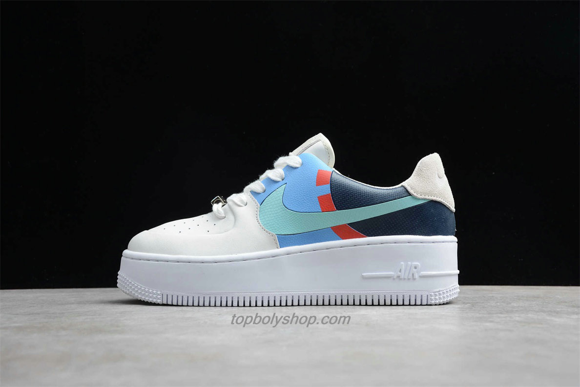 Nike Air Force 1 Sage Low LX Platform BV1976 002 Dames Wit / Blauw / Groen Schoenen