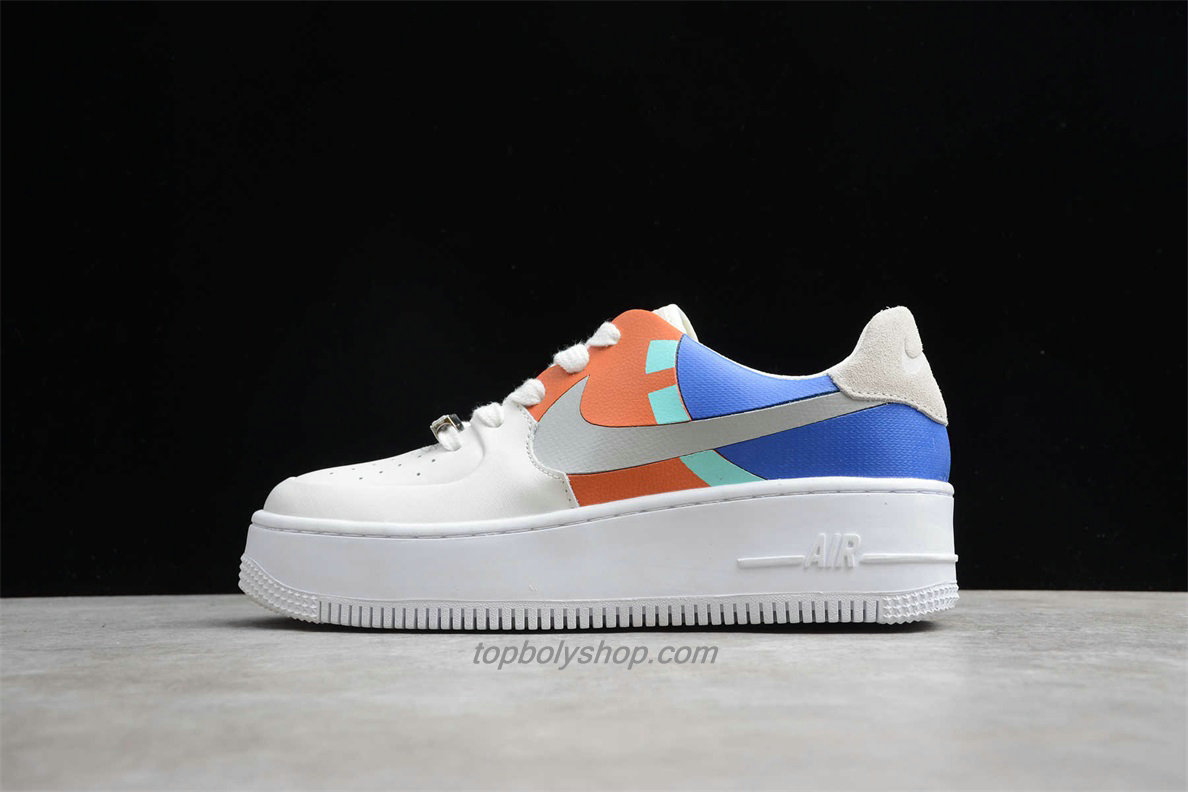 Nike Air Force 1 Sage Low LX Platform BV1976 006 Dames Blauw / Oranje / Wit Schoenen