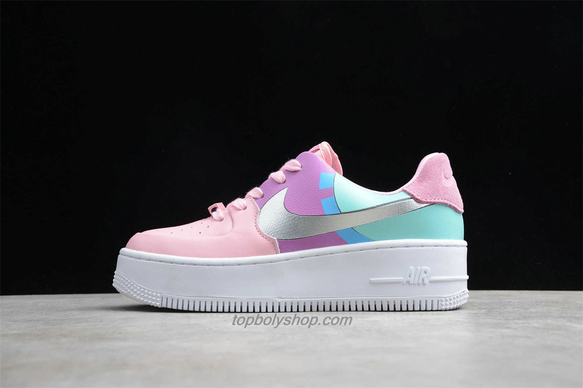 Nike Air Force 1 Sage Low LX Platform BV1976 007 Dames Groen / Purper / Roze Schoenen