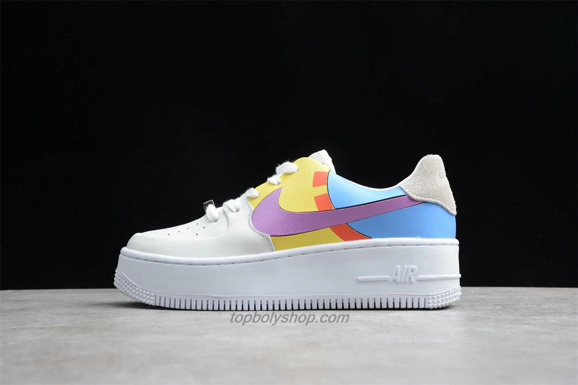Nike Air Force 1 Sage Low LX Platform BV1976 009 Dames Blauw / Geel / Wit Schoenen